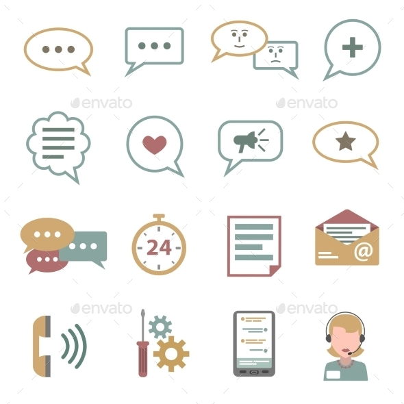 GraphicRiver Chat Icons Flat Set 11515757