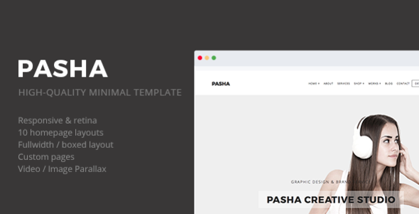 ThemeForest Pasha Minimal Creative Responsive Site Template 11404906