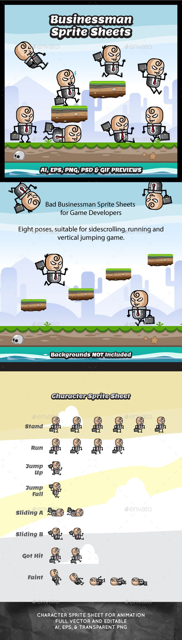 GraphicRiver Evil Businessman Game Character Sprite Sheets 11515897