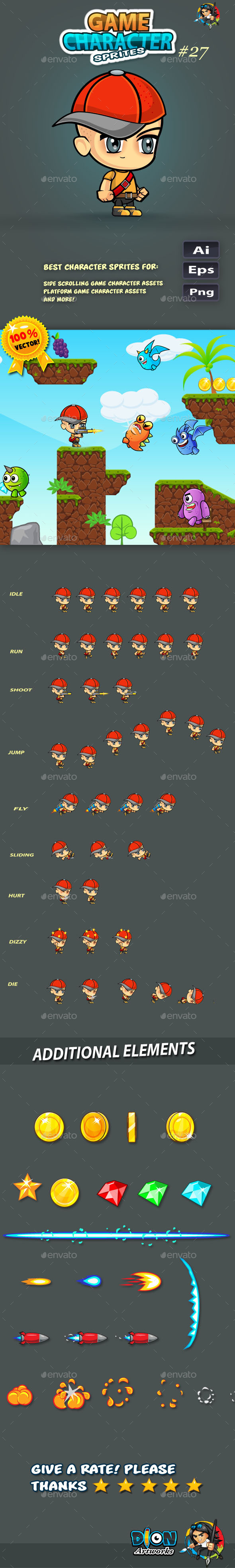 GraphicRiver 2D Game Character Sprites 30 11516113