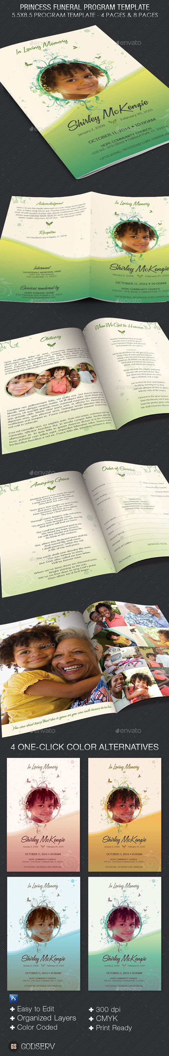 GraphicRiver Princess Funeral Program Template 11516153