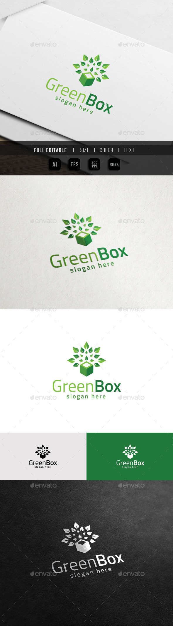 GraphicRiver Eco Green Box Cube Tree Nature Logo 11516203