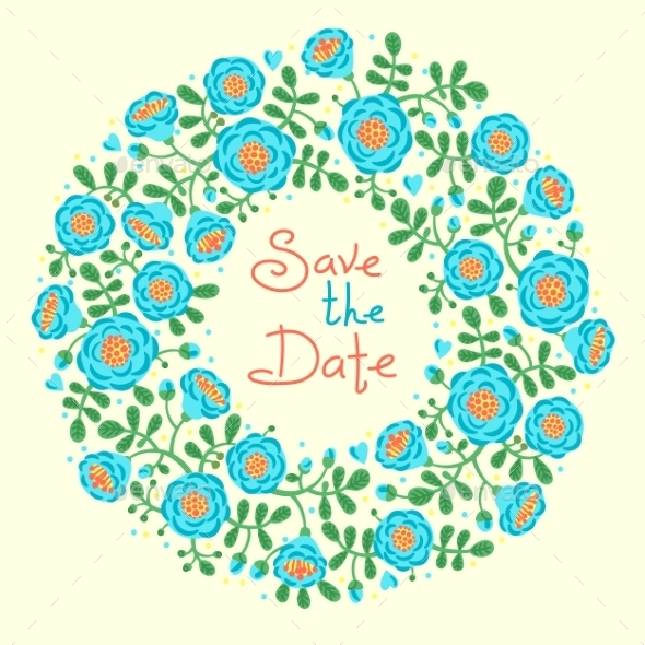 GraphicRiver Save The Date Invitation With Floral Wreath 11516708