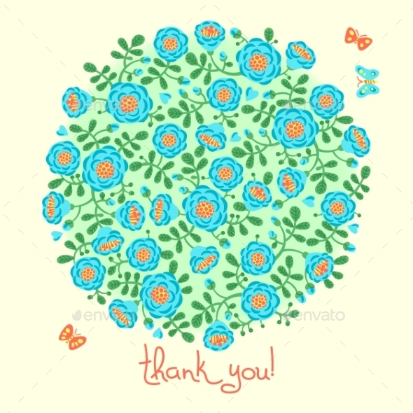 GraphicRiver Vector Card With Floral Bouquet And Text Thank You 11516753
