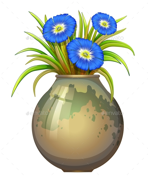 GraphicRiver A Pot with Blue Flowers 11520810