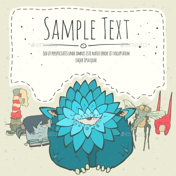 GraphicRiver Doodle Monster Greeteng Or Invitation Card 11522223