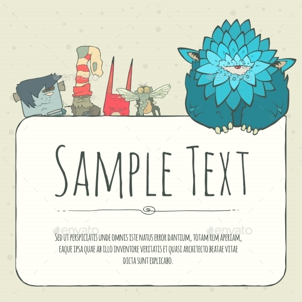 GraphicRiver Doodle Monster Greeteng Or Invitation Card 11522240