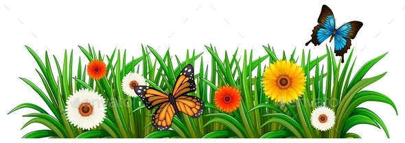 GraphicRiver A Garden with Blooming Flowers and Butterflies 11523683