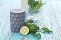 candle bergamot kaffir lime leaves herb blue wood teak - PhotoDune Item for Sale