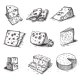 Hand Drawn Doodle Sketch Cheese With Different - GraphicRiver Item for Sale