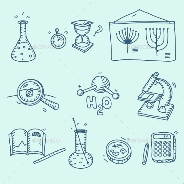 GraphicRiver Science Icons Set School Laboratory Chemistry 11524652