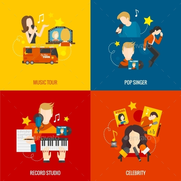 GraphicRiver Pop Singer Flat Set 11524779