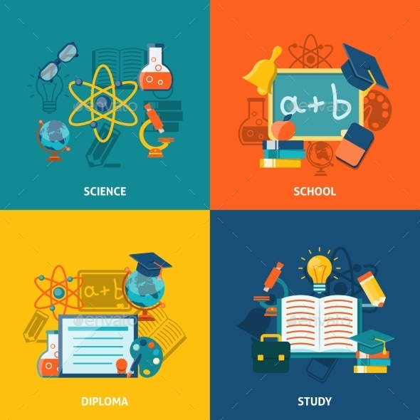 GraphicRiver Education Flat Set 11524805