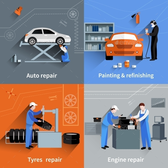 GraphicRiver Mechanic Flat Set 11524809