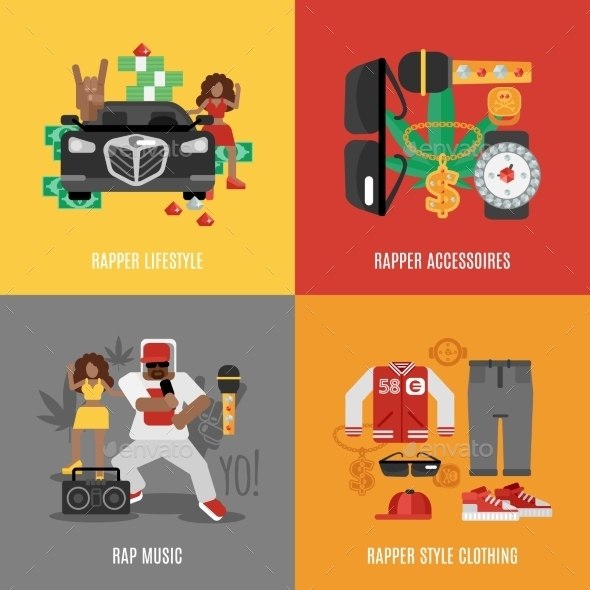 GraphicRiver Rap Music Flat Set 11524821