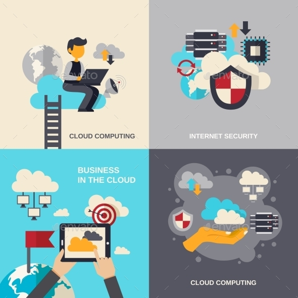 GraphicRiver Cloud Computing Flat Set 11524823