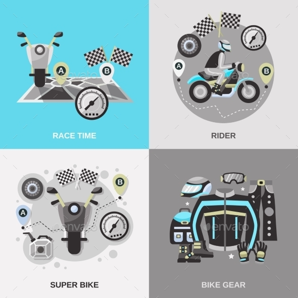 GraphicRiver Rider Flat Set 11524828