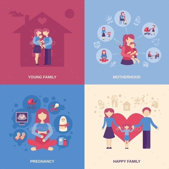 GraphicRiver Motherhood Flat Set 11524829