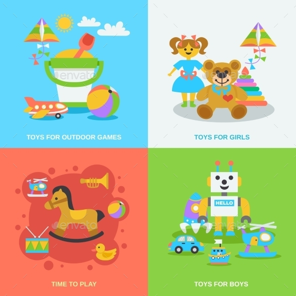 GraphicRiver Flat Toys Set 11524831