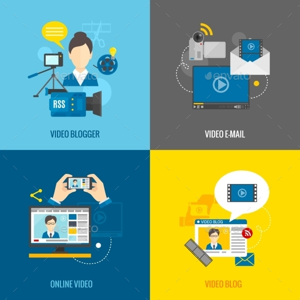 GraphicRiver Video Blog Flat Set 11524851