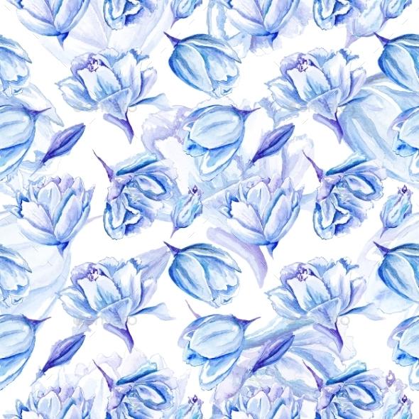 GraphicRiver Blue Watercolor Tulip Pattern 11524858