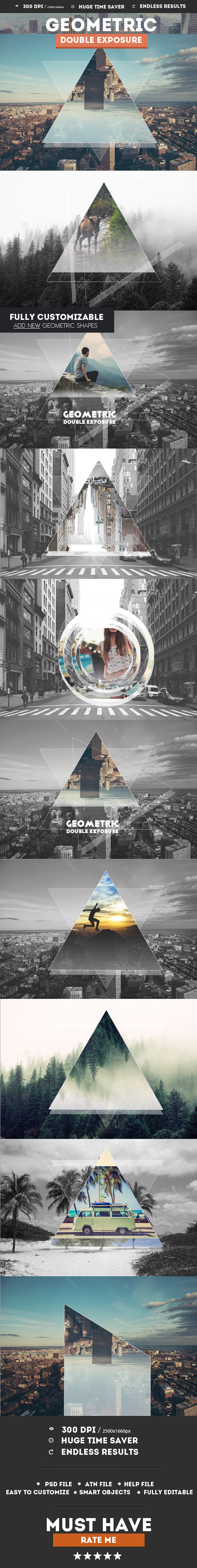 GraphicRiver Geometric Double Exposure Photoshop Creator 11525418