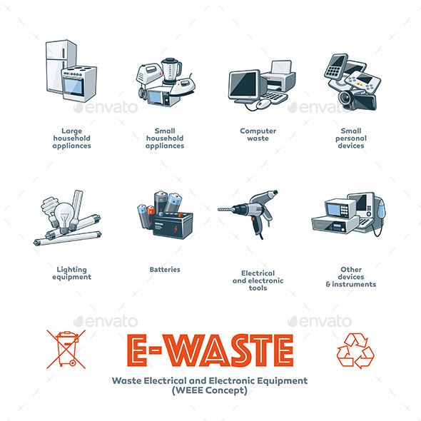 GraphicRiver E-Waste Types Categories 11525671