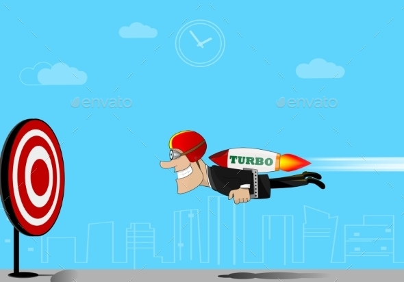 GraphicRiver Businessman Flying to Target 11525740