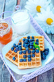 waffle with blueberry