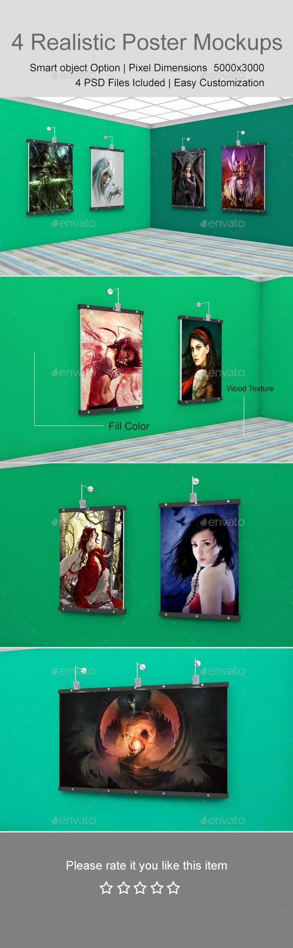 GraphicRiver 4 Realistic Poster Mockups 11526617