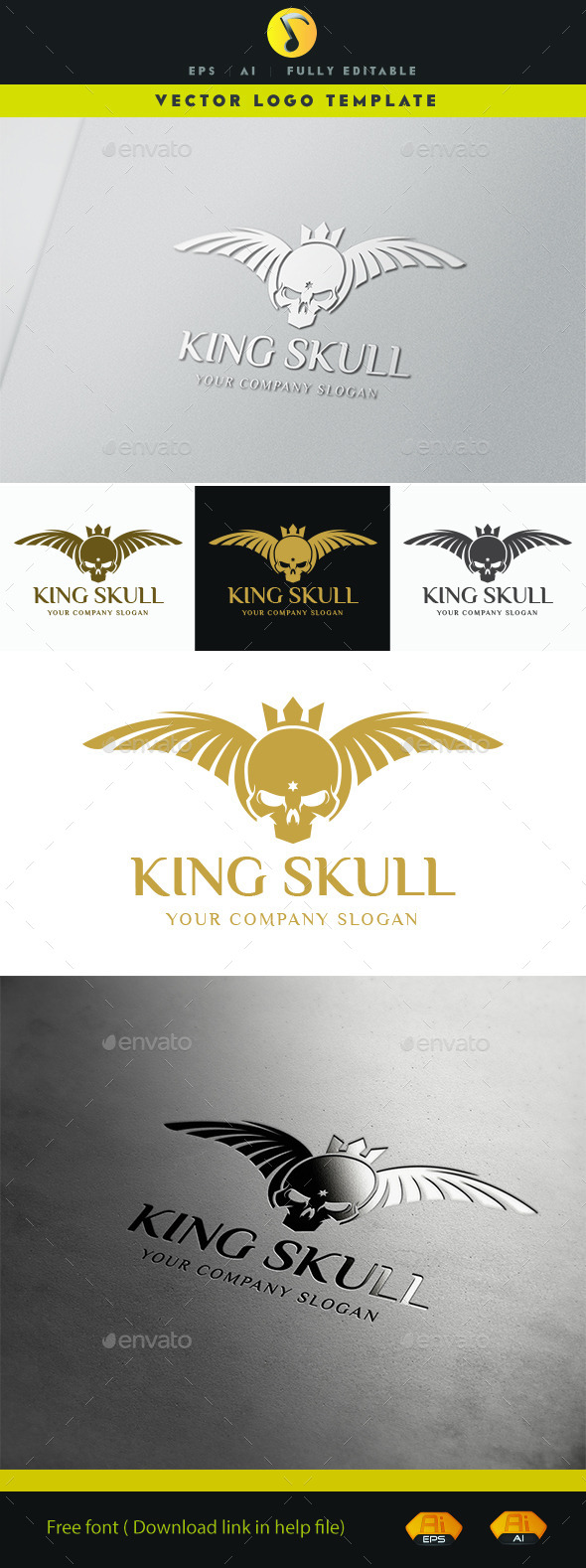 GraphicRiver King Skull Logo 11526627