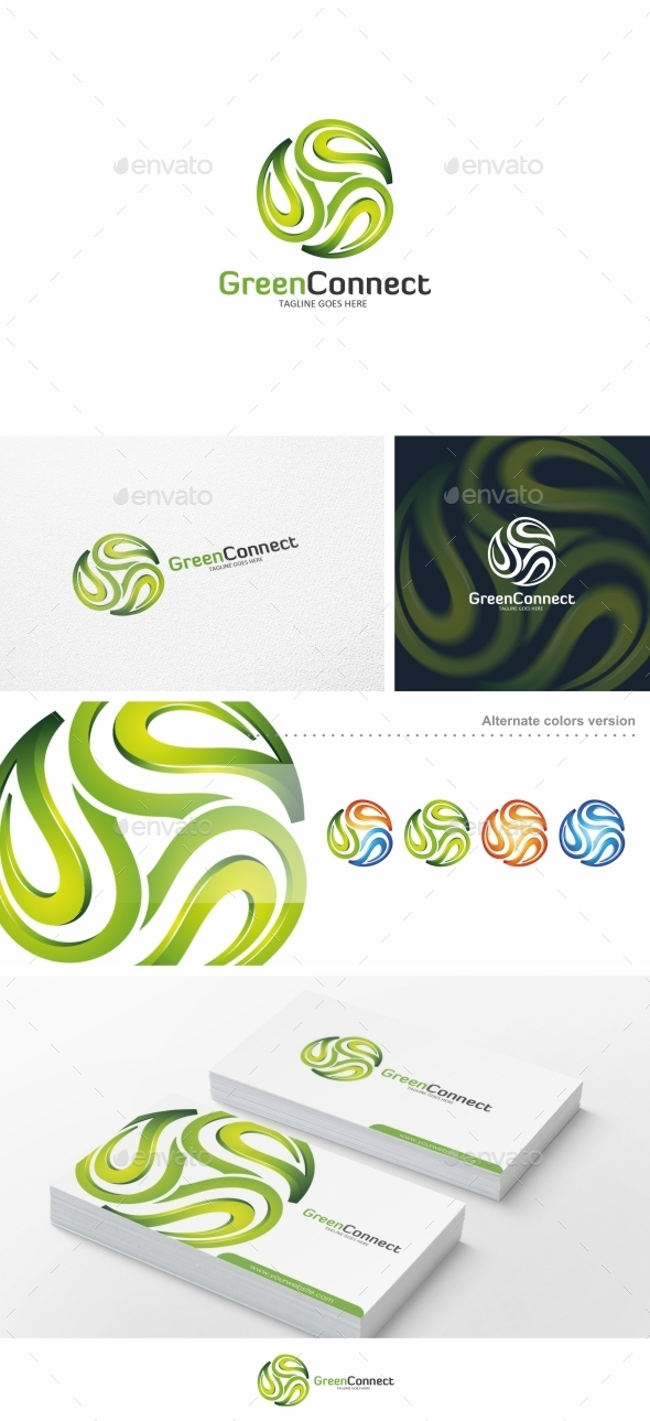 GraphicRiver Green Connect Leaf Logo Template 11526717