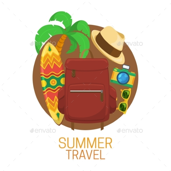 GraphicRiver Tourist Suitcase And Vacation Symbols 11527295