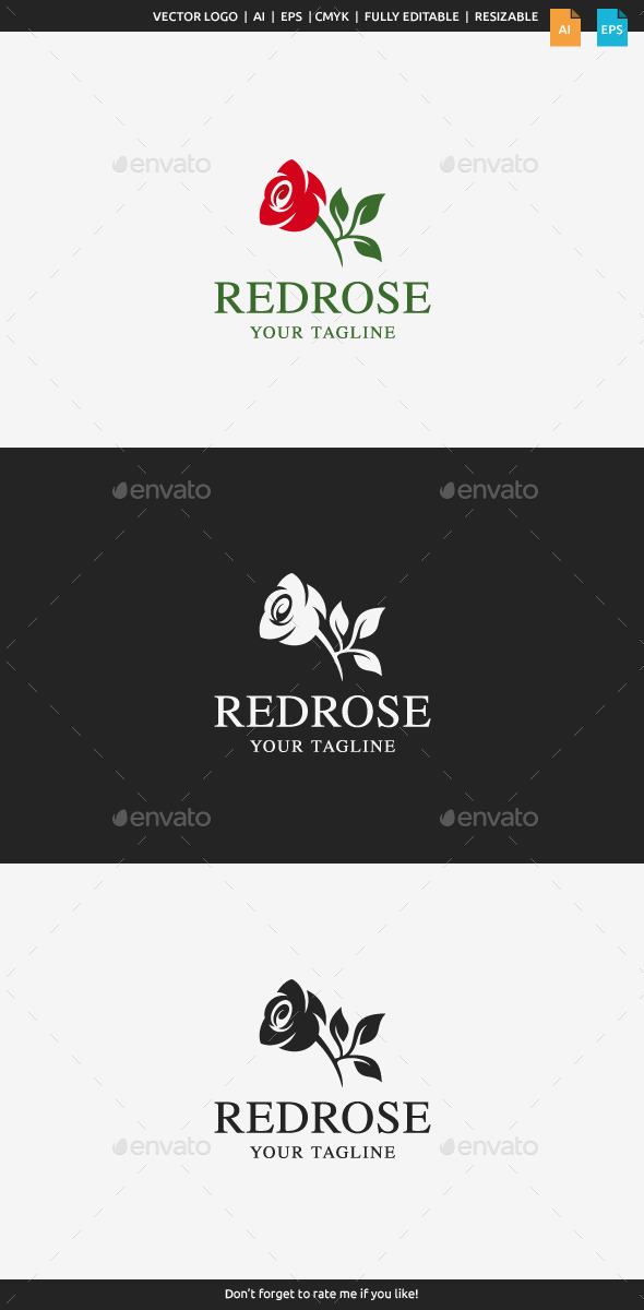 GraphicRiver Red Rose Logo Template 11527464