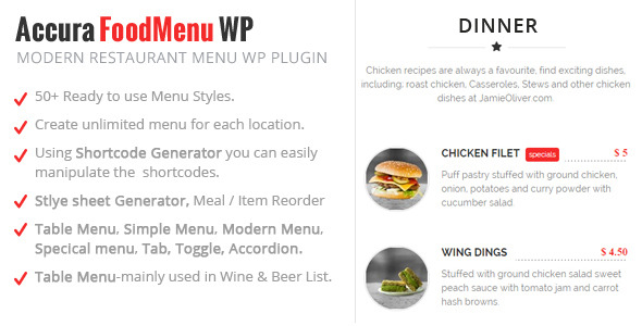 CodeCanyon Accura FoodMenu WP Plugin Modern Restaurant Menu 11425141