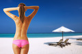 Woman topless on beautiful beach at Maldives - PhotoDune Item for Sale