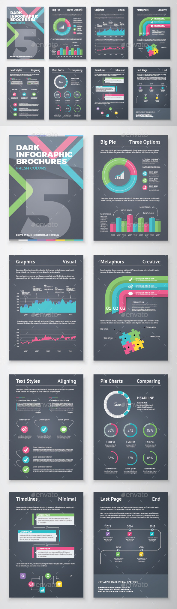 GraphicRiver Dark Infographic Brochure Vector Elements Kit 5 11529472