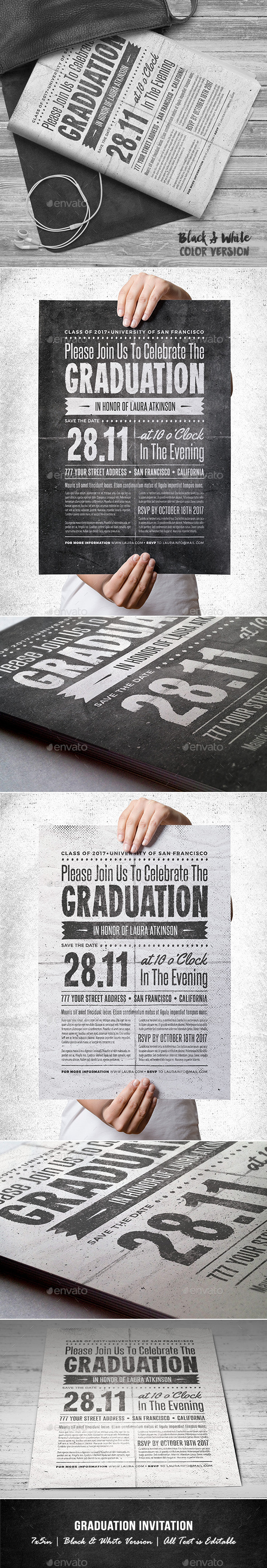 GraphicRiver Graduation Invitation B&W 11529692