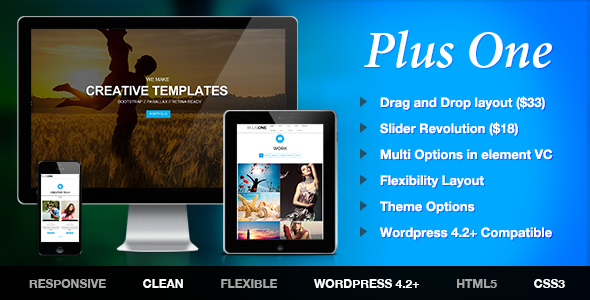 ThemeForest Plus one page wordpress theme 11453708