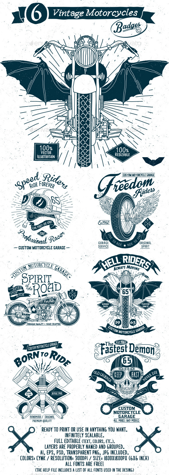 GraphicRiver 6 Vintage Motorcycles Badges 11530076