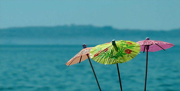 Cocktail Umbrellas and Sea View