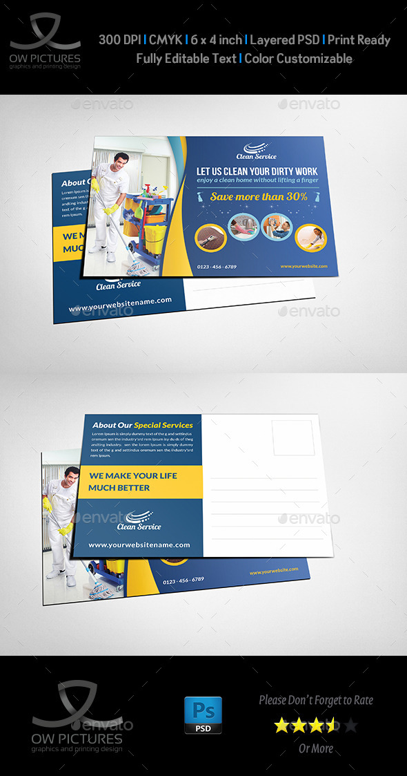 GraphicRiver Cleaning Services Postcard Template 11530154