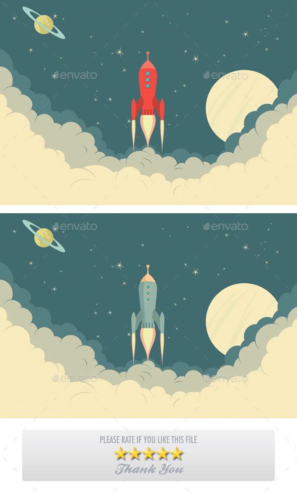 GraphicRiver Retro Rocket Spaceship 11530164