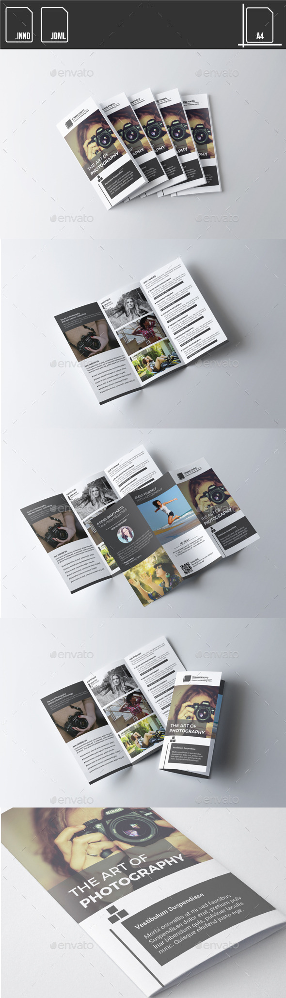 GraphicRiver Brochure Trifold Photographer Black White 11530507