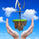 Little island with wind turbine in hands.  - PhotoDune Item for Sale