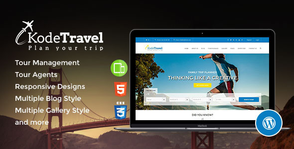 KodeTravel Tourism WordPress Theme