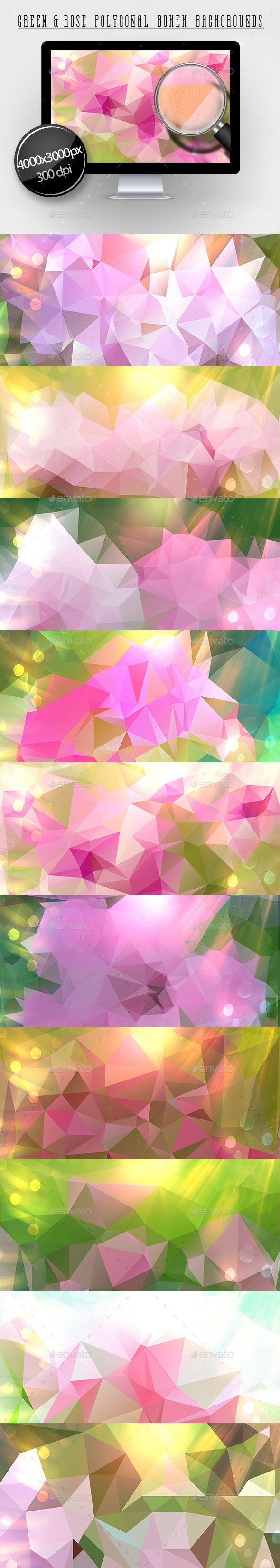 Green & Rose Polygonal Bokeh Backgrounds