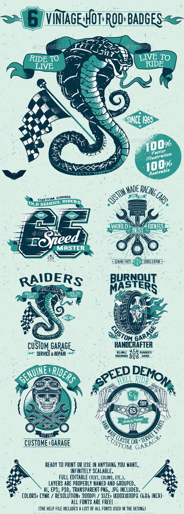 GraphicRiver 6 Vintage Hot Rod Badges 11531296