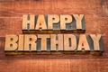 Happy Birthday greetings in wood type - PhotoDune Item for Sale