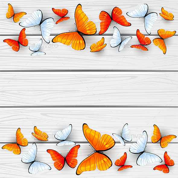 GraphicRiver Red and White Butterflies on Wooden Background 11531937